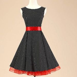Dresses & Skirts - Black polka dot vintage style dress